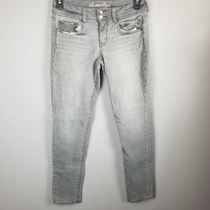 American Eagle Gray Skinny Jeans Sz 8 Womens